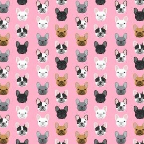 frenchie dog pink (SMALL) faces cute dog head for girls fabric french bulldogs fabric girly design for french bulldog owners