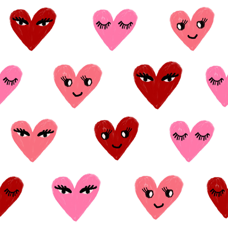 heart face cute valentines day love fabric hearts white red fabric by charlottewinter on Spoonflower - custom fabric