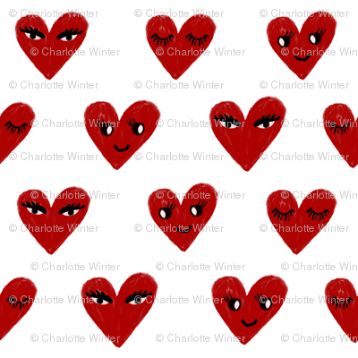 heart face cute valentines day love fabric hearts red