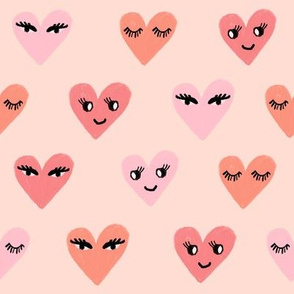 heart face cute valentines day love fabric hearts blush