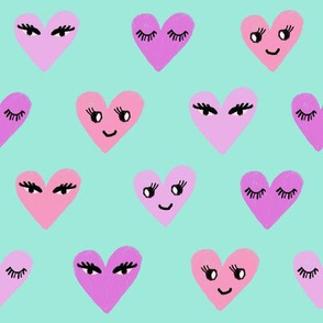 heart face cute valentines day love fabric hearts minty