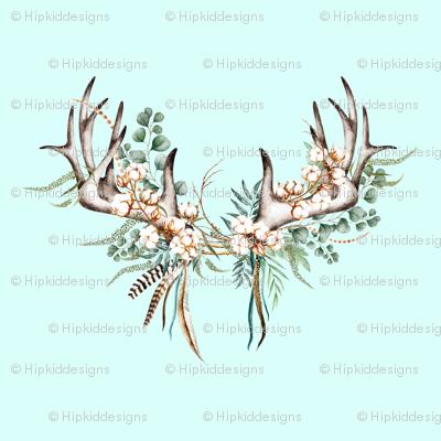Boho Woodland Antlers // Columbia Blue