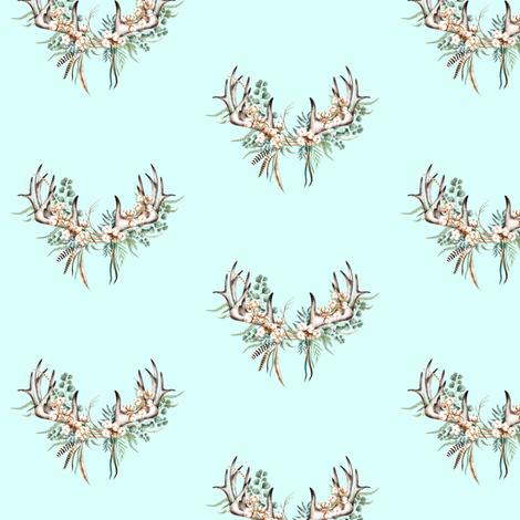 Boho Woodland Antlers // Columbia Blue fabric by hipkiddesigns on Spoonflower - custom fabric