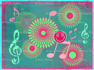 Mini Musical Daze in teal, pastel green and pink - MD3mini