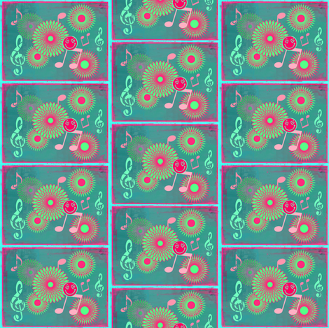 Mini Musical Daze in teal, pastel green and pink - MD3mini fabric by maryyx on Spoonflower - custom fabric