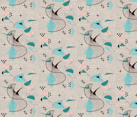 Mid Century Modern Retro Swirl turquoise fabric by gesenared on Spoonflower - custom fabric