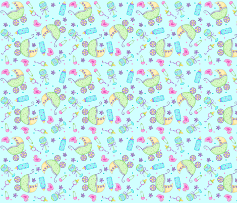 Baby Buggy Blue Small NonDirectional fabric by phyllisdobbs on Spoonflower - custom fabric