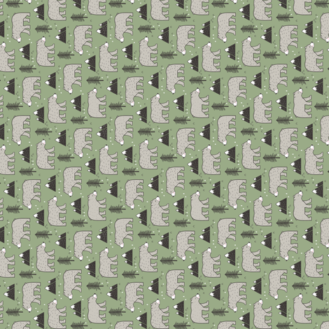 Mountain Bear  Woodland Forest Green Tiny Small Rotated fabric by caja_design on Spoonflower - custom fabric