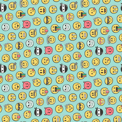 Smiley Emoticon Emoji Doodle on Mint Green Tiny Small Rotated