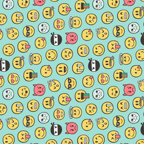Smiley Emoticon Emoji Doodle on Mint Green Tiny Small Rotated fabric by caja_design on Spoonflower - custom fabric