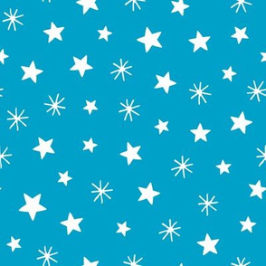 Angels playful stars bright blue