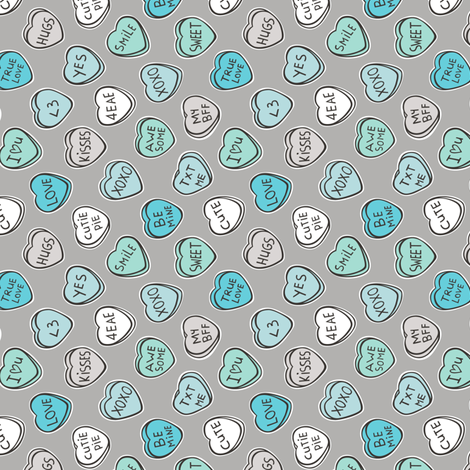 Conversation Candy Hearts Valentine Love  Mint Green Blue on Grey Tiny Small Rotated fabric by caja_design on Spoonflower - custom fabric