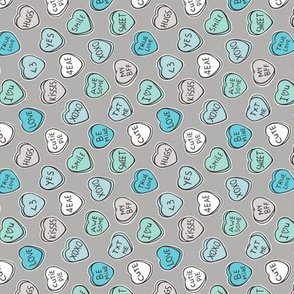 Conversation Candy Hearts Valentine Love  Mint Green Blue on Grey Tiny Small Rotated