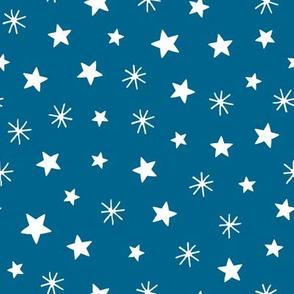 Angels playful stars dark blue