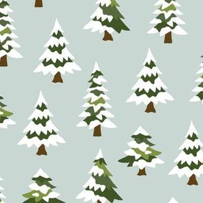 Winter village trees with snow light