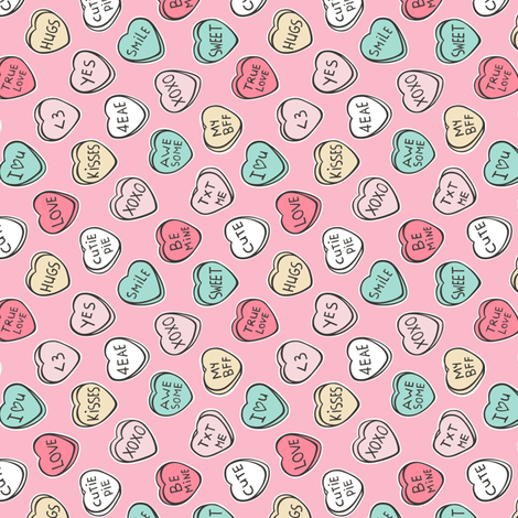 Conversation Candy Hearts Valentine Love on Pink Tiny Small Rotated fabric by caja_design on Spoonflower - custom fabric