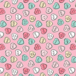 Conversation Candy Hearts Valentine Love on Pink Tiny Small Rotated