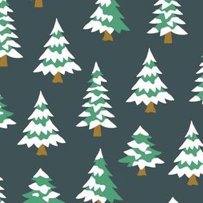 Winter village trees with snow dark