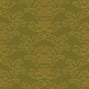 Gold Flourish Wallpaper with Gold Green Back