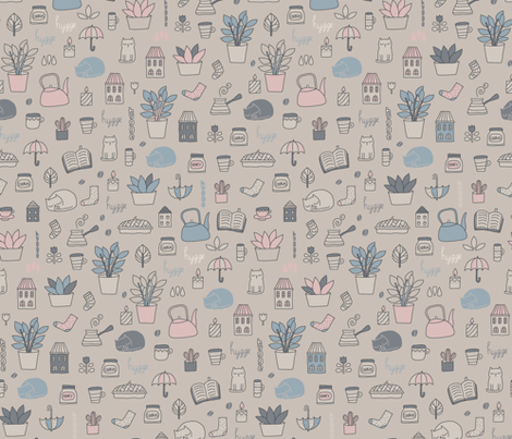 hygge medium. books, cats, cacti, tea, coffee, home, socks, umbrella, cake, plants, house. fabric by kostolom3000 on Spoonflower - custom fabric