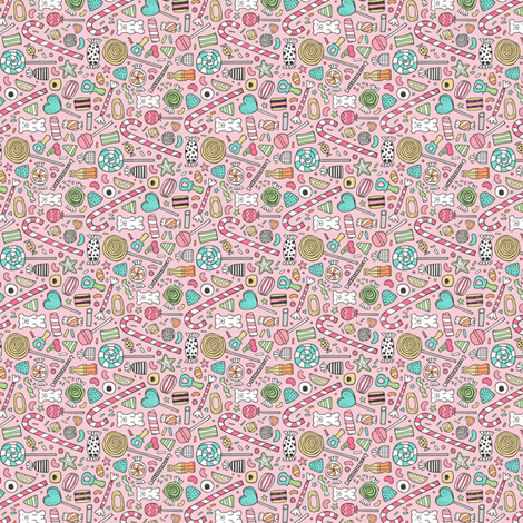 Candy Sweets Sugar Junk Food Black & White Multi Colour on Pink Tiny Small Rotated fabric by caja_design on Spoonflower - custom fabric