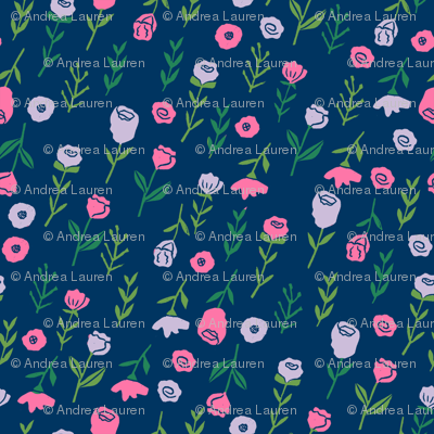 floral // cute minimal flowers garden fabric blooms botanical print navy