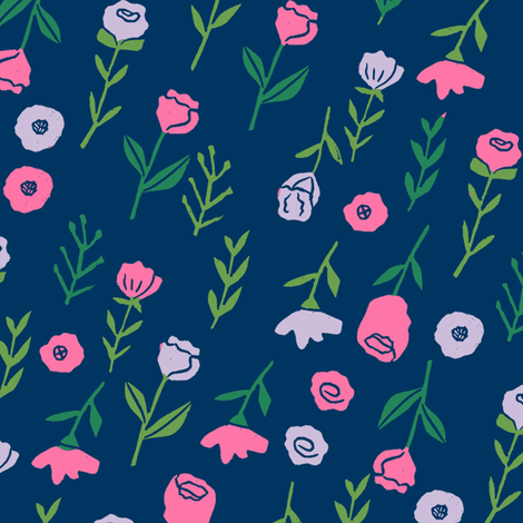 floral // cute minimal flowers garden fabric blooms botanical print navy fabric by andrea_lauren on Spoonflower - custom fabric