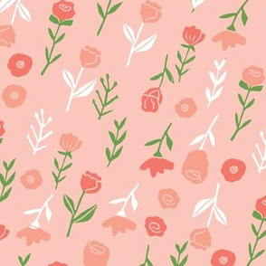floral // cute minimal flowers garden fabric blooms botanical print blush