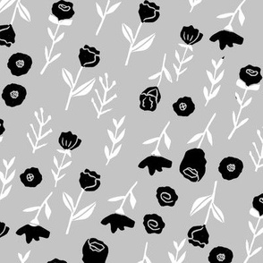 floral // cute minimal flowers garden fabric blooms botanical print grey