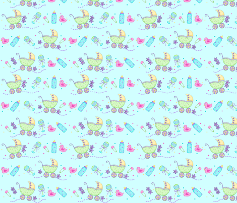 Baby Buggy Blue Small fabric by phyllisdobbs on Spoonflower - custom fabric