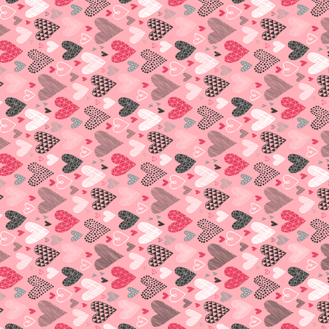 Hearts Geometrical Love Valentine on Pink Tiny Small Rotated fabric by caja_design on Spoonflower - custom fabric
