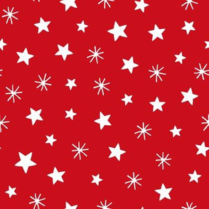 Christmas village playful stars red