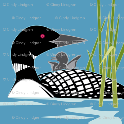 """Loon panel, 18"""" square"""
