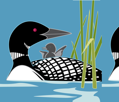 "Loon panel, 18"" square fabric by cindylindgren on Spoonflower - custom fabric"