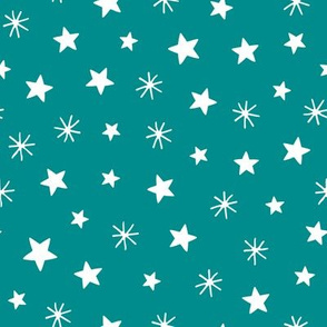 Christmas village playful stars teal