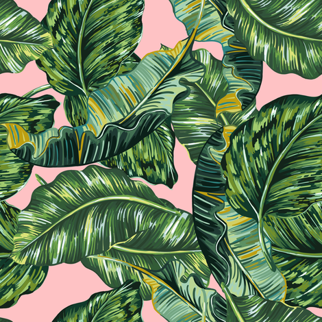 "8"" BOHIO LEAVES PINK fabric by shopcabin on Spoonflower - custom fabric"