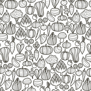 Big Farm vegetables BW pattern. Autumn harvest design. Pumpkin, carrot, pepper, eggplant, beetroot, broccoli.