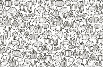 Medium Farm vegetables BW pattern. Autumn harvest design. Pumpkin, carrot, pepper, eggplant, beetroot, broccoli.