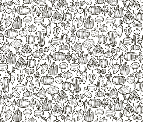 Medium Farm vegetables BW pattern. Autumn harvest design. Pumpkin, carrot, pepper, eggplant, beetroot, broccoli. fabric by kostolom3000 on Spoonflower - custom fabric