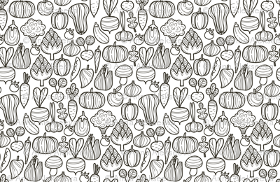 Small Farm vegetables BW pattern. Autumn harvest design. Pumpkin, carrot, pepper, eggplant, beetroot, broccoli.