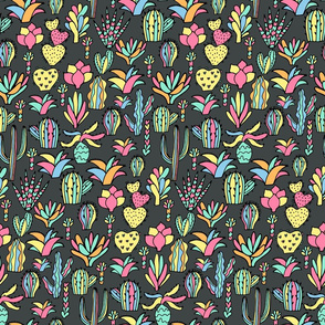 colorful cacti pattern dark. cactuses and succulents design.