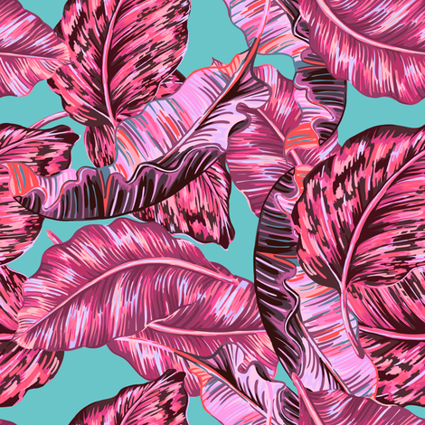 "8"" PINK BOHIO LEAVES /  AQUA fabric by shopcabin on Spoonflower - custom fabric"