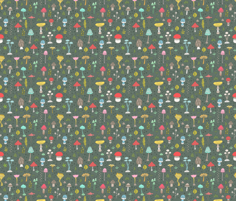 mushrooms pattern colorful fabric by kostolom3000 on Spoonflower - custom fabric