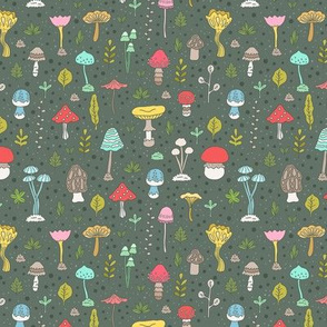 mushrooms pattern colorful