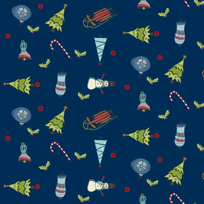 Mod Christmas Fun Navy -Mistletoe Around - LG10