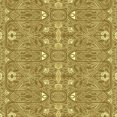 Nouveau Deco Daisy Patch Dipped in  Mustard fabric by edsel2084 on Spoonflower - custom fabric