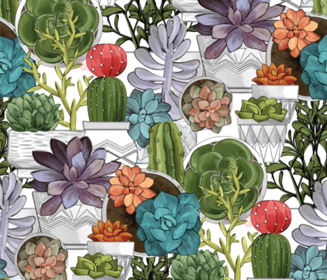 colored-succulents fabric by michaelzindell on Spoonflower - custom fabric