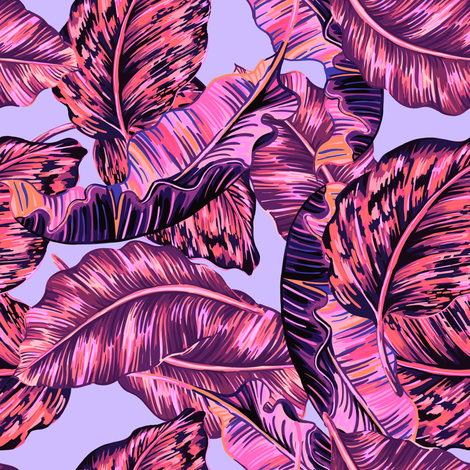 "8"" LILAC BOHIO LEAVES /  LAVENDER fabric by shopcabin on Spoonflower - custom fabric"
