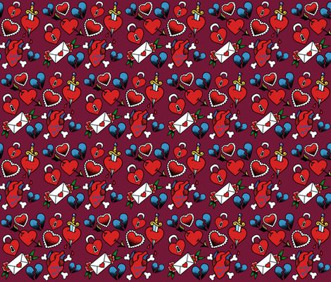 Lovey Tattoo Flash fabric by rlfedun on Spoonflower - custom fabric