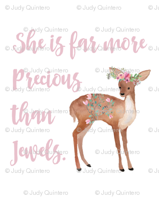 "2 to 3 Yards of 42"" Fabric / She is Far More Precious Than Jewels / Sweet Deer"